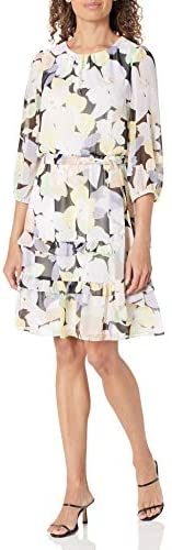 Calvin Klein 女士印花长袖连衣裙,带腰带和Teirs