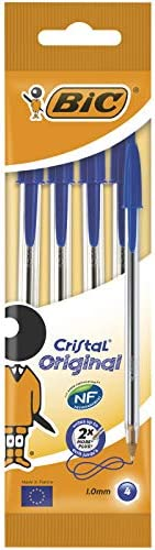 BiC Cristal Original 1.0 毫米圆珠笔 可重新填充 4片装 蓝色
