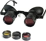 Xplorer 成人双筒望远镜 - 夜钓双筒望远镜 - 免提歌剧院观鸟剧院运动观赏双筒望远镜 - 放大电视眼镜带 3 色镜片 - 送给父母的创意礼物
