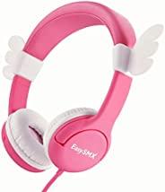 女孩儿童耳机 – 3.5 毫米有线耳机,舒适头戴式耳机,85 分贝音量限制,可爱且*,适合儿童。