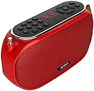 SUNhai 蓝牙音箱便携式无线 FM 收音机桌面音箱 J19 高清音效,TF,USB 播放器,USB,AUX 输入,内置麦克风,辅助电缆,支持免提通话