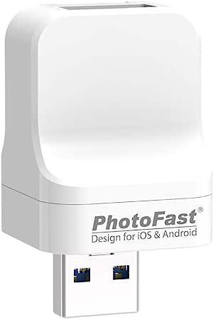 PhotoFast PhotoCube Pro(Type-A 端口和公头),自动备份照片棒,适用于 iPhone、iPad 和 Android,外置存储闪存驱动器,照片和数据保存器,文件管理器 - 含 512GB microSD 卡