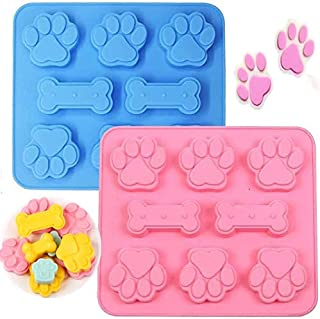 硅胶小狗零食模具,小狗爪子和骨头烘焙模具,适用于巧克力、糖果、果冻、饼干、立方体、狗狗零食 — 2 件装