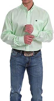 Cinch Apparel 男式*和白色微型地理印花襯衫