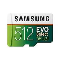 Samsung 三星 EVO Select 512 GB microSD 100MB/s,速度,全高清和4K UHD 存儲卡,包含 SD 適配器,適用于智能手機,平板電腦,動作攝像頭,無人機和筆記本電腦