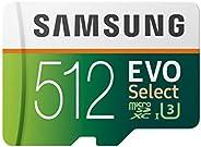 Samsung 三星 EVO Select 512 GB microSD 100MB/s,速度,全高清和4K UHD 存储卡,包含 SD 适配器,适用于智能手机,平板电脑,动作摄像头,无人机和笔记本电脑
