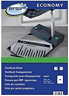 Europe100 90921 激光打印机和复印版开销膜,DIN A4,100 页,透明