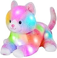 Glow Guards 13 英寸(约 33.0 厘米)躺着发光猫毛绒玩具彩虹阴部柔软填充床夜灯生日适合幼儿儿童
