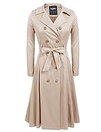 Zeagoo 女式双排扣长款风衣带腰带