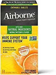Schiff 旭福 Airborne 维生素C 1000毫克/次 Airborne 橙味咀嚼片(一盒64粒) 无麸质 补充剂 富含抗氧化剂