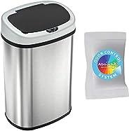iTouchless 13 加仑 SensorCan 无触摸垃圾桶,带气味控制系统,形状,厨房垃圾桶,椭圆形不锈钢