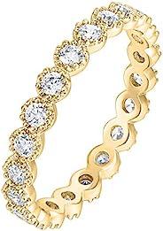 PAVOI 14K 鍍金純銀戒指方晶鋯石戒指 | 欖尖形紋永恒戒指 | 女式黃金戒指