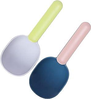 YoneKiera 2 件多功能坚固测量食物勺,适合狗狗猫鸟,1 杯量杯,舒适长手柄,带密封夹,易于勺出食物饮品蓝色和*包装