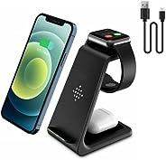 適用于 iPhone 的無線充電站,Veetone 3 合 1 無線充電器 Qi 快速充電支架兼容 Apple Watch SE/6/5/4/3/2、Airpods 2/Pro、iPhone 12/12 Pro Max/