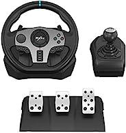 PC 方向盘,PXN V9 通用 USB 汽车 Sim 270/900 度赛车方向盘,带 3 脚踏板和移位器套件,适用于 Xbox One,Xbox Series X/S,PS4,PS3,Nintendo Switch