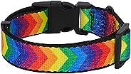 PetsHome 狗项圈可调节重型柔软尼龙宠物项圈,带快速释放扣,适用于小型至大型犬,彩虹