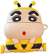 UR Sunshine AirPods Pro/3 手机壳,*可爱做分裂黄色蜜蜂连帽衫蜡笔新陈AirPods保护套,柔软硅胶时尚充电耳机保护套适用于AirPods Pro/3