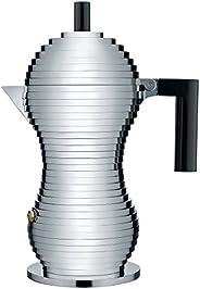 Alessi 铸铝意式浓缩咖啡壶 带聚酰胺手柄和旋钮,铝,黑色,6 杯