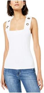 Bar III 无袖索环饰边针织上衣,白色 XL