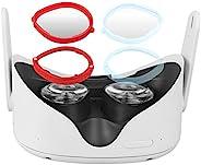 MASiKEN 镜头盖 Oculus Quest 2 近视眼镜,单面高清镜头,轻质磁性可互换眼镜,无遮蔽,防蓝光,视力保护(-5.00,左红色)