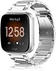Fintie 金属表带 Fitbit Versa 2、Versa Lite 版,实心不锈钢表带替换腕带商务手镯适用于 Fitbit Versa 智能手表
