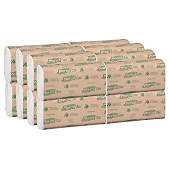 Marcal Pro M 折叠纸巾,* 再生,1 层,自然色手巾,每包 250 张,每包 16 包 4000 张绿色印章认证毛巾 P200B