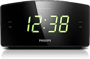 Philips 飞利浦 AJ3400 唤醒闹钟,带收音机,用于床头或厨房,大显示屏,双闹钟,亮度设置,带备用