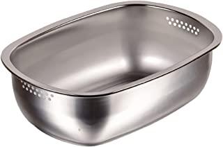 PEARL METAL 洗菜盆 椭圆形 不锈钢 日本制造 HB-1651
