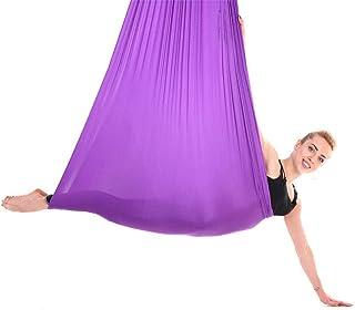 Yosoo Health Gear 2.8x1m 空中瑜伽吊床耐用抗重力瑜伽摇摆聚酰胺纤维空中瑜伽秋千套装抗重力瑜伽秋千倒转工具适用于普拉提延长带