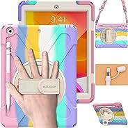 BRAECN iPad 保护套* 8 代 10.2 英寸,重型儿童保护套带铅笔架屏幕保护膜铅笔帽支架手带支架适用于 iPad * 8 代 10.2 2020 2019 - 彩虹色