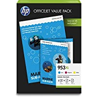 HP 惠普 原裝打印機墨盒 適用于 HP 惠普 Officejet Pro 打印機 Office Value Pack: Standard + Papier Blau/Rot/Gelb
