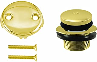 Westbrass 尖头浴缸装饰套装,带双孔溢流面板,抛光黄铜,D93-2-01