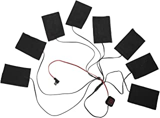Rainbowrock 加热垫 - USB 加热布 冬季加热夹克背心 金属纤维加热垫 电热服装 8 合 1 套件(黑色)