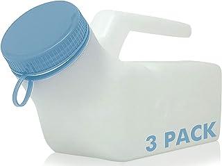 Home With Comfort Urinals 男式 3 件装 - *版男士厚尿瓶,防溢/防漏夜光螺丝盖- 32 盎司/1000 毫升男士便携式尿液,床单,男士*瓶,3 只装