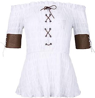 BKpearl 女式蒸汽朋克维多利亚风格衬衫半袖露肩前系带紧身胸衣上衣波西米亚风格 T 恤