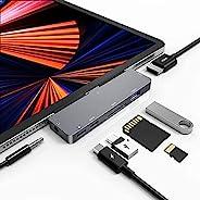 USB C 集线器,适用于 iPad Pro 11 12.9 iPad Pro 2021 2020 2018 配件,USB C 适配器 7 合 1 - USB 3.0,4K HDMI,3.5 毫米音频端口,60W PD,