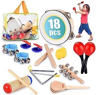 幼儿教育和音乐打击乐器套装 18 件 – 带铃鼓、沙锤、城堡等 – 促进精细运动技能,增强手眼协调能力,