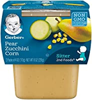 Gerber 2nd Foods Pear Zucchini Corn, 4 Ounce Tubs, 2 Count (Pack of 8)