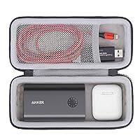 BOVKE 硬質旅行箱適用于 Anker PowerCore + 10050 高級鋁合金便攜式手機充電器移動電源電池組,額外空間適合 AirPods、Micro USB 數據線、SD 卡和小型配件,黑色