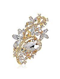 Reizteko 女式花朵胸针饰水晶胸针 Gold-toned Crystal