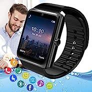 Pradory 智能手表 健身手表 *心率监测器 IP67 防水运动活动追踪器 Android 手机 蓝牙智能手表 适用于安卓 iOS 手机 适用于女士男士黑色