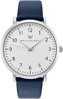 WRISTOLOGY Olivia 女式数字大脸易读模拟手表 带秒针 - 皮革表带 - 适用于*教师老年人