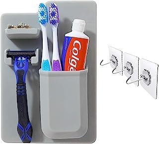 OrganizeHQ 浴室淋浴用剃刀和牙刷架,硅胶防水浴室收纳架,适用于小型洗漱用品,适用于剃须刀和牙膏,3 件用于擦洗机的粘性墙钩套装 - 灰色