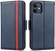 Rssviss 适用于 iPhone 12 迷你手机壳 5.4 英寸(约 13.7 厘米),保护皮革钱包防震磁性翻盖手机壳带卡槽和支架适用于 iPhone 12 Mini 5.4 英寸(约 13.7 厘米)深蓝色