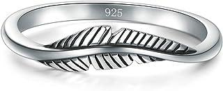 BORUO 925 纯银戒指,羽毛戒指尺寸 4-12