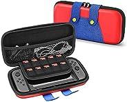 TNP Nintendo Switch Mario 主题旅行箱便携旅行携带硬壳 EVA 材料袋旅行者豪华保护套带手柄适用于开关控制台、Joy Con 控制器、游戏卡夹