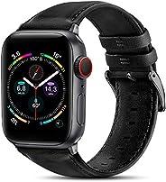 BRG 皮革表带兼容 Apple Watch 苹果手表表带 44 毫米 42 毫米 40 毫米 38 毫米,男式女式替换真皮表带,适用于 iWatch SE 系列 6 5 4 3 2 1,黑色表带/太空灰色适配器,40
