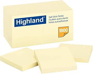 Highland 便利贴,3 x 3英寸(7.6厘米 x 7.6厘米),黄色,12本/包 Case of 18 Dozens