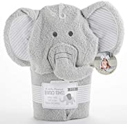 Baby Aspen 小花生大象连帽水疗毛巾,灰色/白色