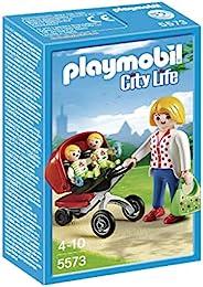 Playmobil 摩比世界 5573 城市生活带双婴儿车的母亲玩具